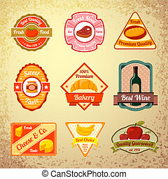Collection of food stamps or labels