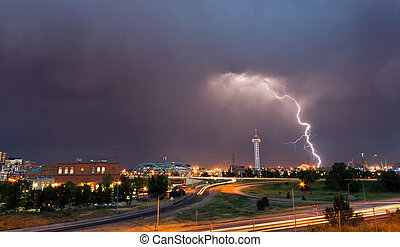Lightning Strike in Denver Colorado - Denver, Colorado -...