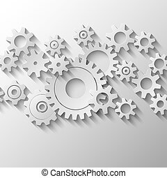 Integrated cogs and gears emblem vector illustration