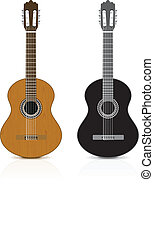 Classical guitar on white background Vector illustration