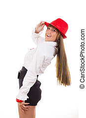 female model with the red hat smiling