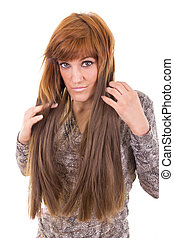 girl showing her hair extension