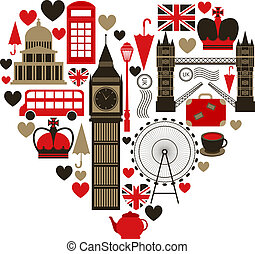 Love London heart symbol with icons set isolated vector...
