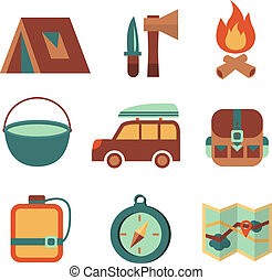 Outdoors tourism camping flat icons set of campfire tent...