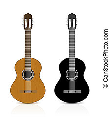 Classical guitar on white background.   illustration