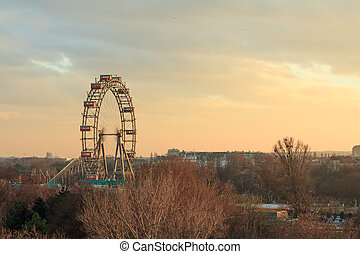 Vienna ferris wheel at sunset