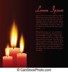 Candles, Vector Illustration - Image of candles with sample...