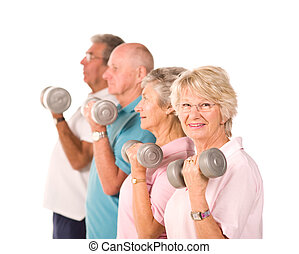 Senior older people lifting weights - Group of older senior...