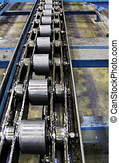 conveyor belt in a factory, factory track