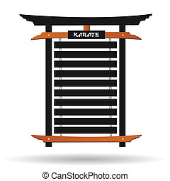 Karate Belt Rack - Image of a karate belt rack isolated on a...