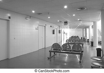 Waiting area and surgery rooms at hospital center - Waiting...