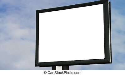 Blank Billboard with empty screen over cloud timelapse