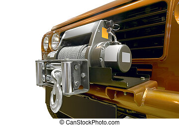 Winch with metal cable wire for offroad equipment - Close up...
