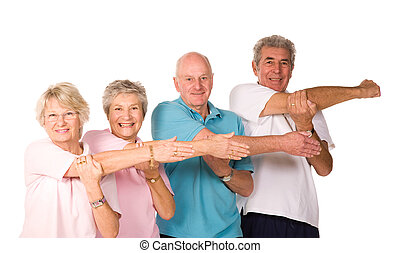 Group of mature people stretching - Group of mature older...