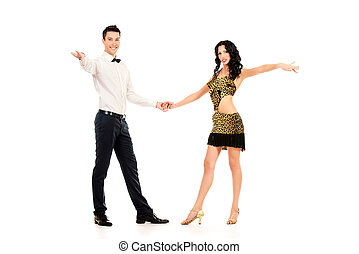 cha cha - Beautiful professional artists dancing passionate...