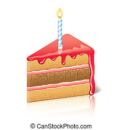 Piece of cake with jam vector illustration - Piece of cake...