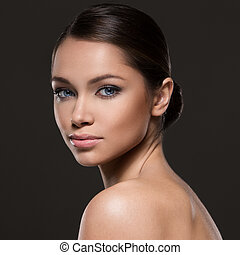 Beautiful girl with perfect face - Cute woman with beautiful...