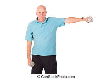 Senior man lifting weights - Senior older man lifting...