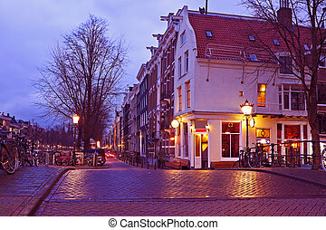 Streetview with amsterdam cafe in the Netherlands by...