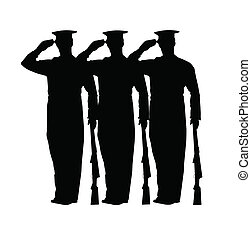soldiers at attention saluting holding rifles in silhouette