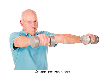 Older senior man lifting weights - Senior older man lifting...