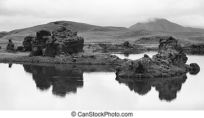 Iceland Myvatn Lake and lava formations - Lake and lava...