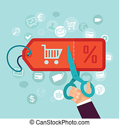 Vector discount and sale concept in flat style - online...
