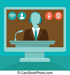 Vector online conference concept in flat style