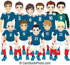 bleu, football, équipe, joueurs
