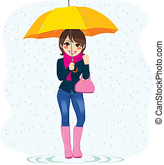 Woman In The Rain - Illustration of young beautiful...