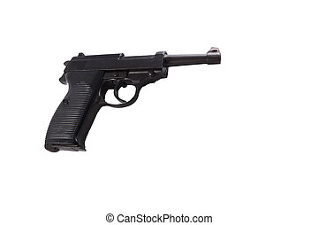 a black parabellum p38 and white background