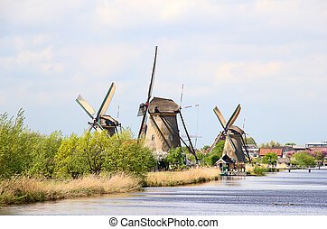 Windmills - Ancient windmills near Kinderdijk, Netherlands