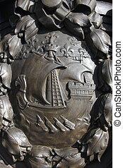 Coat of arms of Paris - Details of the Bridge Alexander III...