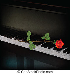 abstract grunge dark background with rose on piano