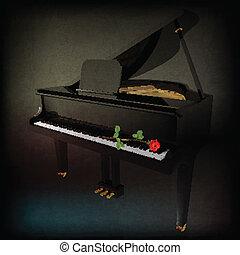 grunge, Ros, 摘要, 背景, 盛大, 鋼琴