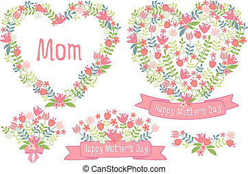 Happy mothers day, floral hearts - Happy mother's day,...
