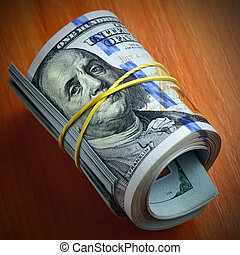 Dollars keep silent - Roll of dollar bills - Money keeps...