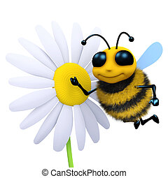 3d Bee and flower - 3d render of a bee next to a flower