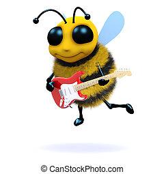 3d Bee guitarist