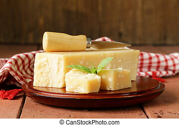 piece of fresh tasty hard parmesan cheese