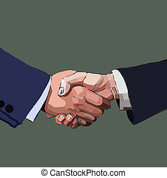 Handshake business people, partnership, vector illustration.