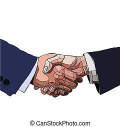 Handshake business people, partnership. Vector illustration.