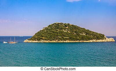Rocky island in the sea.