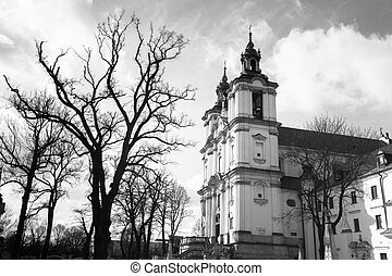 Church of StStanislaus Bishop in Krakow, Poland black and...