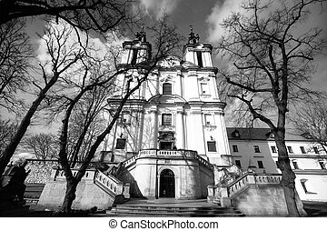 Church of St Stanislaus Bishop in Krakow, black and white...