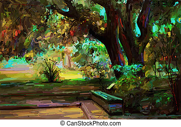 original landscape painting, park in spring, vector version