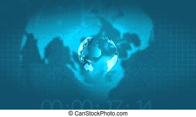Broadcast news intro opening, earth globe animated rotation