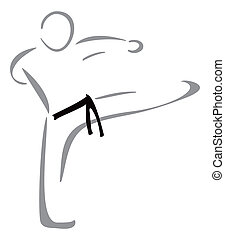 Karate fighter - Fight sport symbol isolated on white