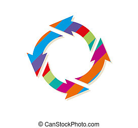 striped circle arrows - circle arrows with color stripes on...