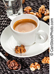Coffee espresso, nutty flavor